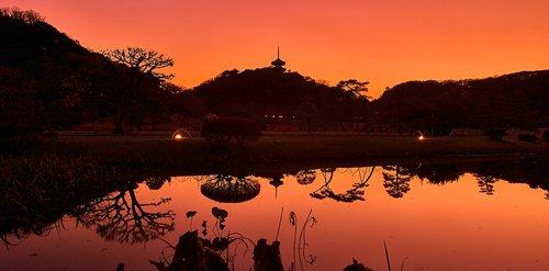 Sankeien sodas, Yokohama, Japonija, vakare vaizdas, parkas, Japonija sodas, Kanagava Japonija, Sodas, raudona, japonų stiliaus, siluetas, kraštovaizdis, dangus, saulėlydžio, saulė, temstant, natūralus, Magic valandą, Žiemos, Waterside