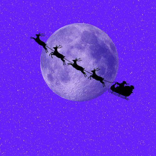 santa & nbsp, claus, santa, šiaurės elniai, rogės, mėnulis, Kalėdos, xmas, sezoninis, mėlynas, violetinė, santa ir mėnulis