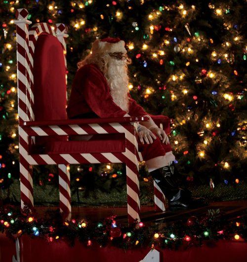 Kalėdų Senelis,Kalėdos,šventė,sėdi,kėdė,šventasis Nikolas,nikas,linksmas,linksmas,medis,dekoracijos,šventinis,sezonas,senas,barzda,dovanos,pateikti