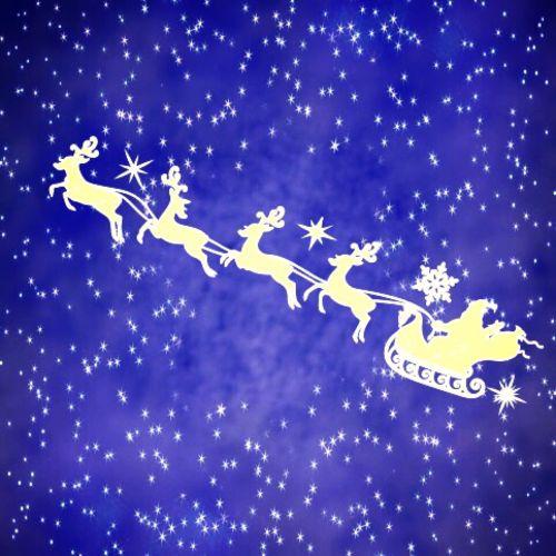 Santa Claus su šiaurės elniai,Žvaigždėtas dangus,Kalėdos,šiaurės elniai,treneris,Kalėdų laikas,fonas,žvaigždė,šviesa,dangus,atvirukas,spindesys