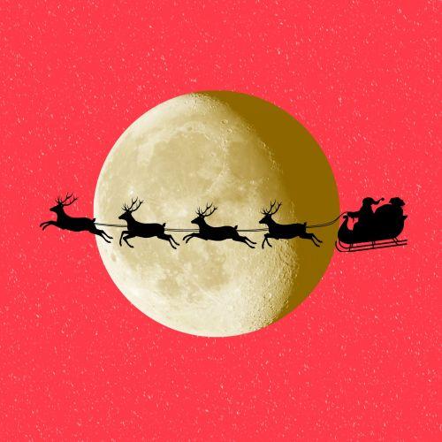 Kalėdos, xmas, santa, santa & nbsp, claus, šiaurės elniai, mėnulis, raudona, siluetas, santa rogės
