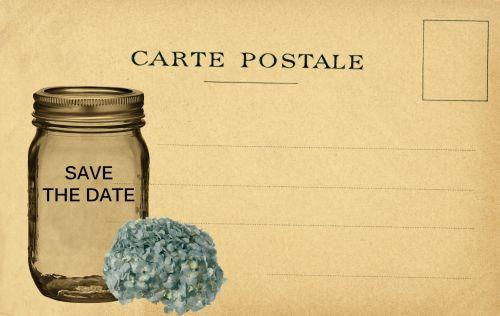 išsaugoti & nbsp, datą, vintage, atvirukas, senas, stiklas, jar, masonas, hortenzija, mėlynas, gėlė, žydėti, kortelė, skelbimas, menas, Scrapbooking, išsaugokite senovinės kortelės datą