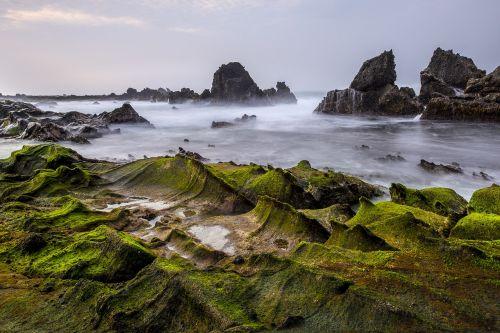 sawarna,banten,žalias,vaizdas,natūralus žalias,saulėtekis,papludimys,uolos,akmuo,gamta