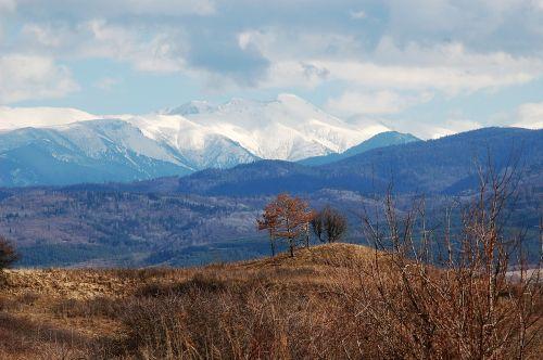 peizažas, kalnai, sniegas, pavasaris, ruda, debesys, mėlynas dangus, mėlyni kalnai, žiemos pabaiga, sniego uždanga, panorama, diapazonas, scena, piko, kelionė, kraštovaizdis, Bulgarija, Balkanai, rilos kalnai, be honoraro mokesčio