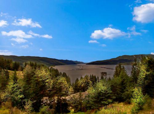 kraštovaizdis, peizažas, gamta, vaizdingas, kalnas, natūralus, lauke, dangus, gamta & nbsp, kraštovaizdis, debesys, kalnų & nbsp, asortimentą, Rokas, spalvinga, mėlynas, ežeras, vanduo, medžiai, kalvos, vaizdingas kraštovaizdis