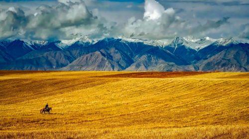 kraštovaizdis, vaizdingas, kalnai, piko, sniegas, panorama, dykuma, viešasis & nbsp, domenas, tapetai, fonas, laukas, kalvos, vaizdingas, raitelis, arklys, arklys, keliautojas, prairie, debesys, vaizdingas kraštovaizdis