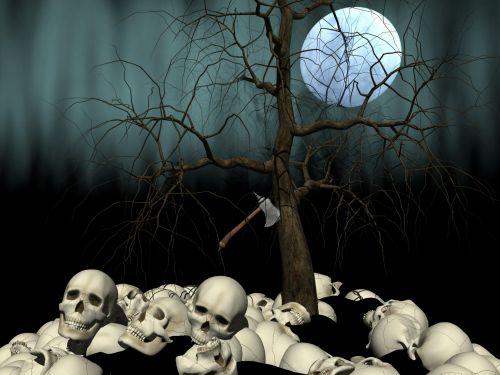 kaukolė, mėnulis, medis, baisus, creepy, siaubas, niūrus, mistinis, naktis, slinkimas, atmosfera, mirtis, kaulai, krūvos krūvos