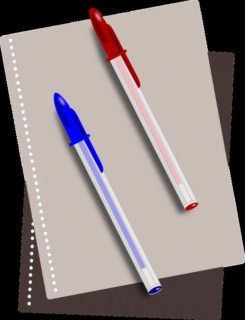 mokyklos ištekliai,rašikliai,nešiojamojo kompiuterio,šratinukas,popierius,Bic rašiklis,nemokama vektorinė grafika