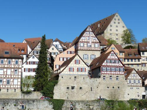 Schwäbisch salė,Württemberg,istoriškai,Viduramžiai,baden württemberg,Senamiestis,Vokietija,namai,istorinis miestas,santūra,fachwerkhaus,miesto vaizdas