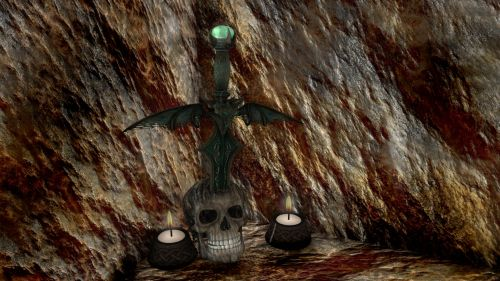 urvas, akmuo, žvakė, kaukolė, urvas & nbsp, portalas, fantazija, Rokas, Kardas