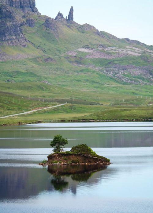 Škotija, Ežeras, Tylus, Dangus, Mėlynas, Debesys, Vasara, Kalnai, Natūralus, Tyla, Ro, Vaizdas, Vienišas, Vanduo, Kraštovaizdis