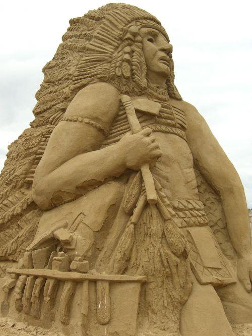 skulptūra,smėlis,indėnai,sandworld,smėlio skulptūra,smėlio skulptūros,Travemünde,cirko smėlio pasaulis