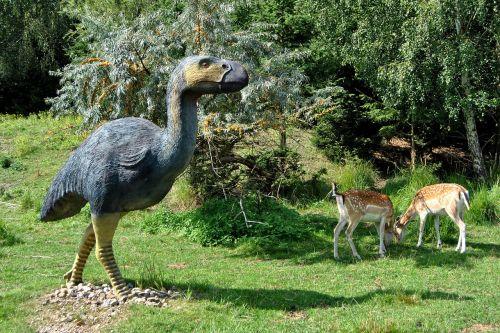skulptūra,gyvūnų skulptūra,diatryma,primityvus paukštis,urzeittier,elnias,kraštovaizdis,parkas,eglės,medžiai,Pirminis parkas,Teminis parkas,oranienburg