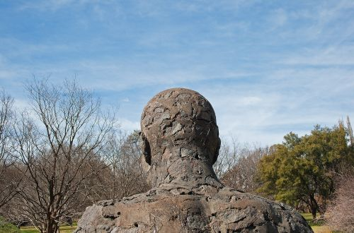 skulptūra,figūra,statula,Patinas,menas,grubus,galva,atgal,pečiai,parkas,dangus