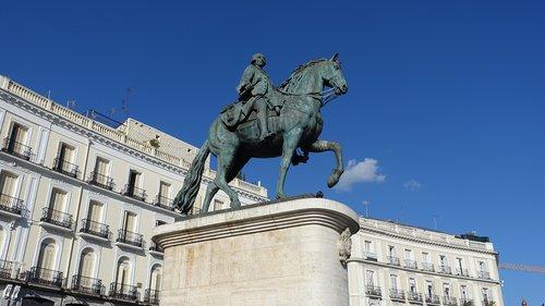 skulptūra, statula, carlos 3 metų, istorija, Memorial, puikus, reforma, didžiuotis, Sol aikštė, išsaulės durų, Turizmas, Madridas, Ispanija, Charles lll, Puerta del Sol