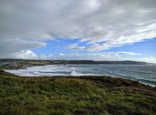 Jūra, Bangos, Potvynis, Kranto, Dangus, Horizontas, Cornwall, Plačiajuostis Lynas, Papludimys, Vandenynas, Vanduo