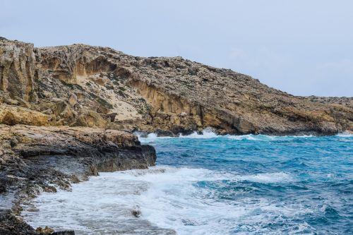 jūra,kranto,gamta,kraštovaizdis,peizažas,uolos pakrantė,mėlynas,pakrantė,geologija,cavo greko,Kipras