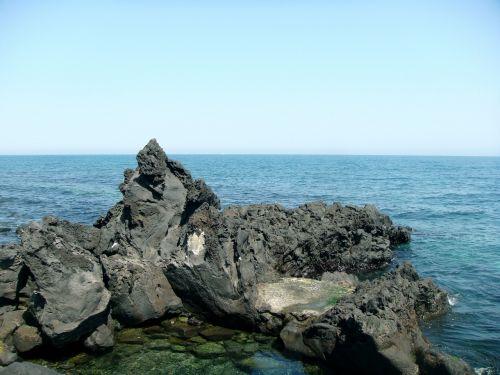 jūra,akmuo,bazaltas,lava,kraštovaizdis