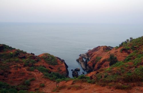 jūra,arabų,kranto,uolingas,vaizdas,uolos,kalvos,akmenys,vandenynas,dangus,vanduo,horizontas,pakrantė,ramybė,gokarna,Indija