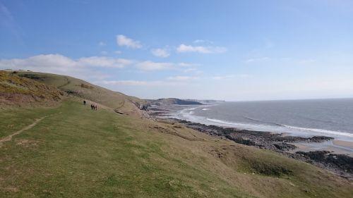 jūra,pakrantės kelias,clifftops,uolos,Velso,kelionė,southerndown,paplūdimiai,Britanija,pakrantė,vaizdingas,kraštovaizdis,paveldo pakrantė