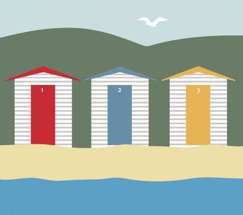paplūdimys & nbsp, namelis, paplūdimys & nbsp, nameliai, nameliai, kateriai, namai, šventė, papludimys, pajūryje, smėlis, jūra, vandenynas, kalvos, žalias, mėlynas, dangus, kajakas, paukštis, skraidantis, medinis, mediniai nameliai, namas, raudona, geltona, scena, menas, iliustracija, Scrapbooking, pajūrio paplūdimio nameliai