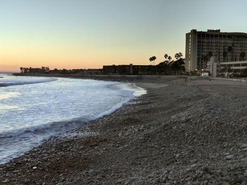 papludimys, vandenynas, bangos, saulėlydis, jūra, kurortas, atostogos, Ventura, Kalifornija, pajūrio kurortas