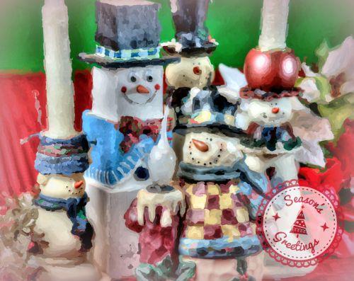 Kalėdos, xmas, apdaila, sezonai & nbsp, sveikinimai, sniego seniai, sniego senis, žvakės, žvakidės, dažytos, sezonai sveikinimai snowmen