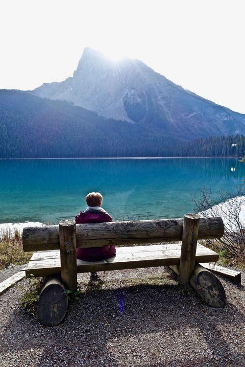 sėdynė,sėdi,Moteris,atsipalaiduoti,vaizdas,sėdi,patogus,kalninis ežeras