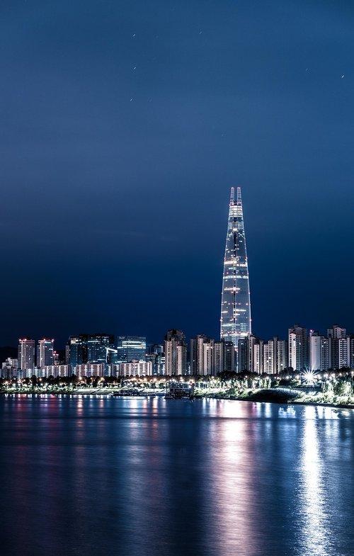 Seulas, naktinis vaizdas, Miestas, Han upė, naktinis vaizdas Seule, naktinis peizažas, naktinis fotografavimas, Lotte bokštas, bokštas