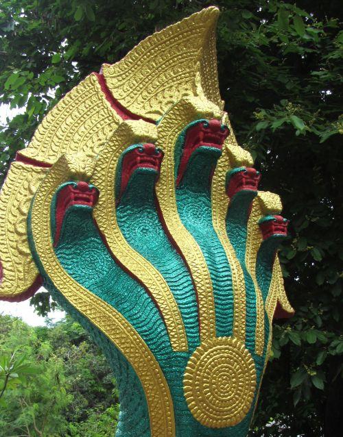 religija, šventykla, žalias, kabliukas, žavesys, gyvatės, budizmas, Tailandas, velnias, apsaugoti, apsauga, gyvatės pagimdė budizmo ornamentą