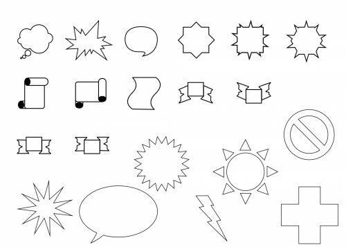 nustatyti, formos, geometrinis, juoda, balta, paprastas, piešimas, piktogramos, formos