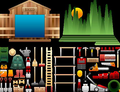 atleisti reikmenis,įrankiai,medinis,sodininkystė,sodo įrankiai,saugojimas,kastuvas,lova,potting,sodo įrankiai,žoliapjovė,žarna,bėgiai,rinkimas,žoliapjovė,Varžtų pjoviklis,sodo šakutė,dizainas,įrankių rinkinys,Dažų skardinė,dažymo teptukai,dažų volelis,kėdė,skrybėlę,kirvis,laistytuvas,sodo pirštinės,lentynos