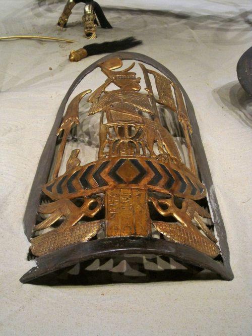 egyptian, skydas, lobis, senovės, kopija, karalius tutankhamono skydas