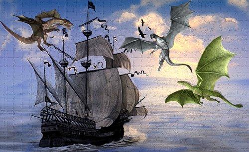 laivas, laivas, drakonas, Dragoon, drakonai, jūra, Vela, medžiai, vandens, laivai, takelažas, roplys, ir sparnuotas, burlaivį, plaukioja drakonas, Nuotykių, Graffiti, sieninis, įtrūkimų, sienelę, lizdus, siena krekingo, Dungeons ir drakonai, Nemokama iliustracijos