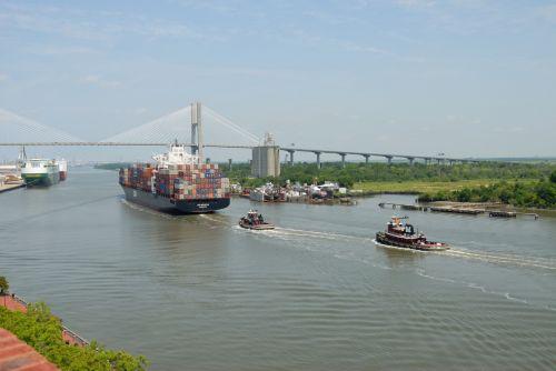 laivai, valtys, laivyba, upė, vanduo, kraštovaizdis, savana, Gruzija, uostas, krovininiai laivai, kroviniai, laivai, jūrinis, industrija, laivybos juosta savanoje, Gruzija