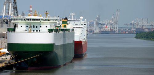 krovinys, kroviniai & nbsp, laivai, prijungtas, švartuotas, upė, uostas, laivai, industrija, savana, Gruzija, usa, gabenimas, laivyba, transportas, laivai pritvirtinti