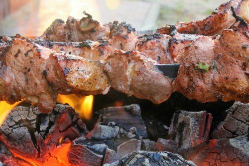Kebabas,Ugnis,anglis,iškylai,nudegimai,rengia,mėsa,koster,mangalas