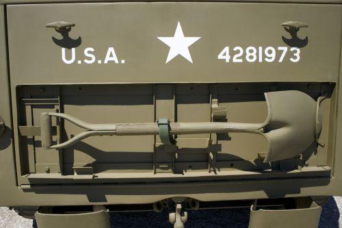 Senovinis, armija, armija & nbsp, jeep, kariuomenė & nbsp, žvaigždutė, kasti, Jeep, Korėja, metalas, kariuomenė, galinis, kastuvas, lova, žvaigždė, dirželis, usa, karas, pasaulis & nbsp, karas & nbsp, ii, kastuvas ant armijos džipo