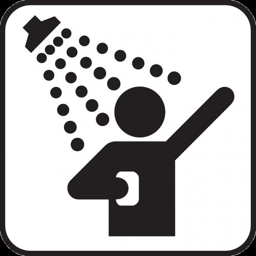 dušas,dušas,purkšti,valymas,skalbimas,vanduo,simbolis,ženklas,piktograma,nemokama vektorinė grafika