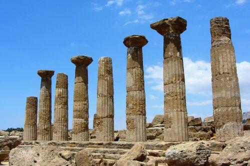 sicilija,valle dei templi,šventykla,graikų kalba,griuvėsiai,heraklių šventykla,doric šventykla,akragas