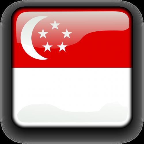 Singapūras,vėliava,Šalis,Tautybė,kvadratas,mygtukas,blizgus,nemokama vektorinė grafika