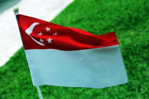 Singapūras & nbsp, vėliava, vėliava, žvaigždės, mėnulis, simbolis, pagarba, Singapūras vėliava