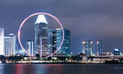 Singapūras & nbsp, skrajutė, Ferris & nbsp, ratas, peizažas, Singapūras, Singapūras lėktuvas