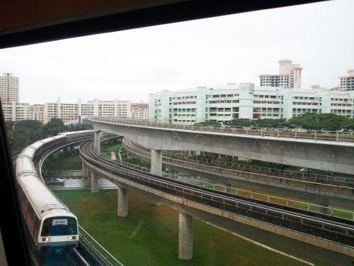 Singapūras, nuotrauka, gabenimas, geležinkelis, traukinys, tiltas, Singapūras mrt