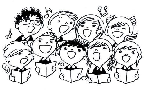 dainuoti, vaikai, daina, dainuoti, vaikas, studentas, mokykla, iliustracija, dainuoti vaikus