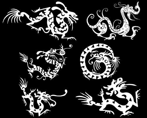 nustatyti, grupė, drakonai, piešimas, balta, izoliuotas, padaras, mitologija, asian, kinai, legenda, žvėrys, magija, juodas & nbsp, fonas, šeši drakonai