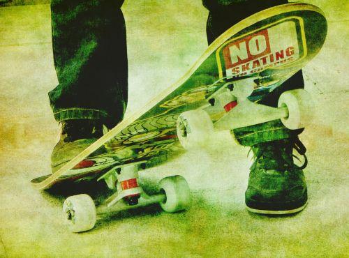 riedlentė, skateboarder, važinėjimas riedlente, pėdos, Iš arti, vintage, iliustracija, menas, dažymas, fonas, tapetai, popierius, Laisvas, viešasis & nbsp, domenas, skateboarder, riedlentė