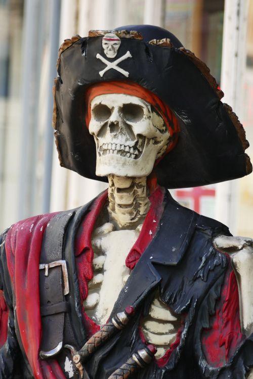 skeletas, piratas, kūnas, skrybėlę, kaulai, kaukolė, žmogus, baugus, siaubas, fantazija, miręs, mirtis, skeleto piratas
