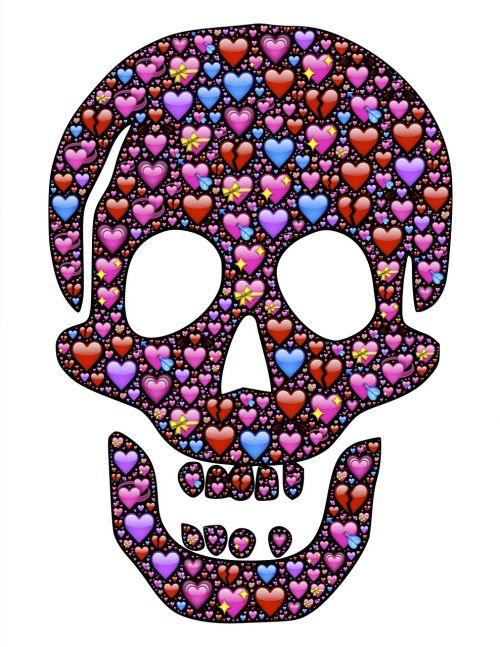 kaukolė,meilė,mylėti,emoji,piktogramos,valentines