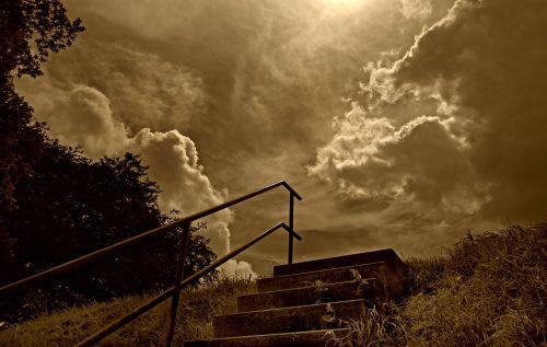 dangus,debesys,kalnas,laiptinė,akmens laiptai,dramatiškas,gotika,dangus,dangus,cumulus,sepija,vienspalvis